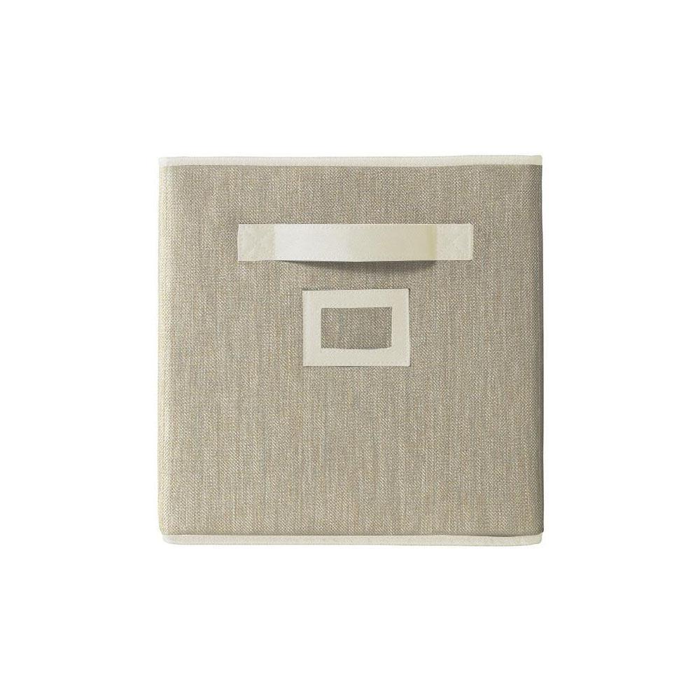 10.5 in. x 11 in. Fabric Glimmer Storage Bin in Buff