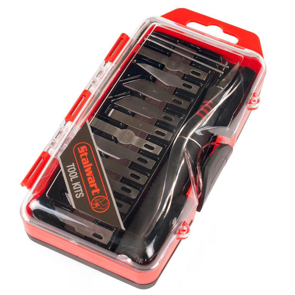 Stalwart Hobby Knife Set with Scribe Needles (16-Piece)