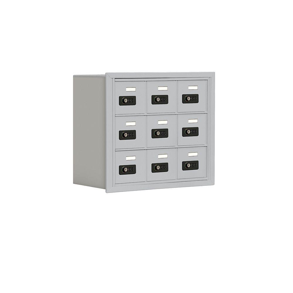 19000 Series 24 in. W x 20 in. H x 8.75 in. D 9 A Doors R-Mount Resettable Locks Cell Phone Locker in Aluminum