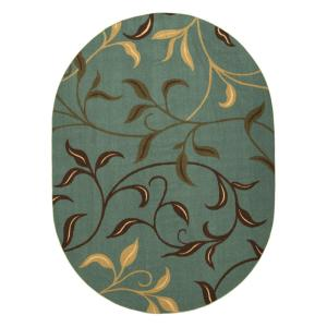 Ottohome Collection Contemporary Leaves Design Seafoam 5 ft. x 7 ft. Oval Area Rug