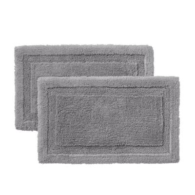 Stone Gray 17 in. x 25 in. Non-Skid Cotton Bath Rug with Border (Set of 2)