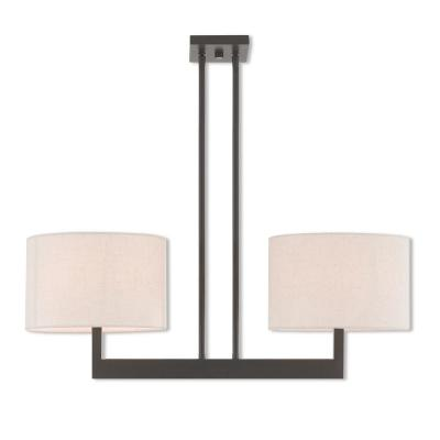 Hayworth 2-Light Bronze Linear Chandelier with Oatmeal Color Fabric Outside and White Fabric Inside Hardback Shade