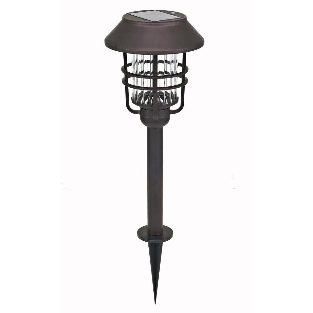 Solar Oil-Rubbed Bronze Outdoor Integrated LED Path Light (4-Pack)