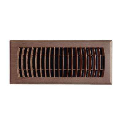 4 in. x 10 in. Plastic Floor Register in Mahogany Grain