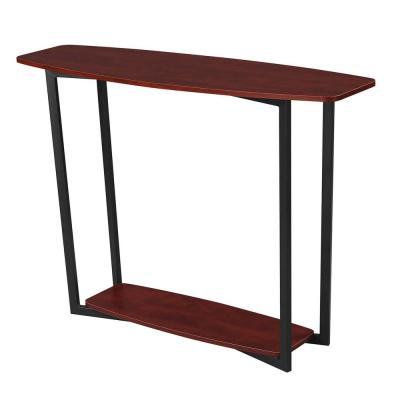 Graystone 48 in. Cherry/Black Frame Standard Rectangle Console Table with Shelves