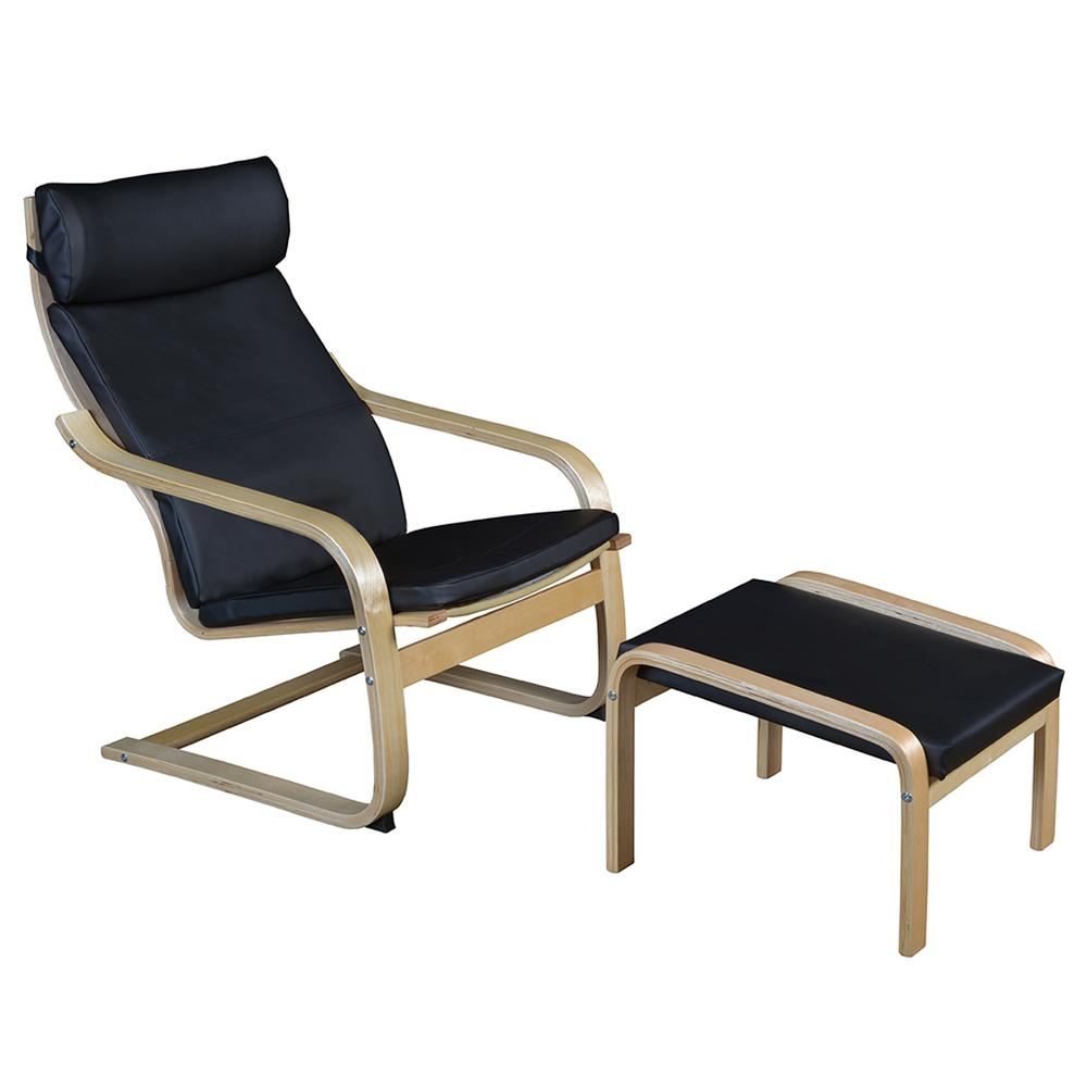 Niche Mia Natural/Black Bentwood Reclining Chair And Ottoman