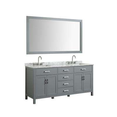 Hampton 73 in. Bath Vanity in Gray with Marble Vanity Top in Carrara White with White Basin and Mirror