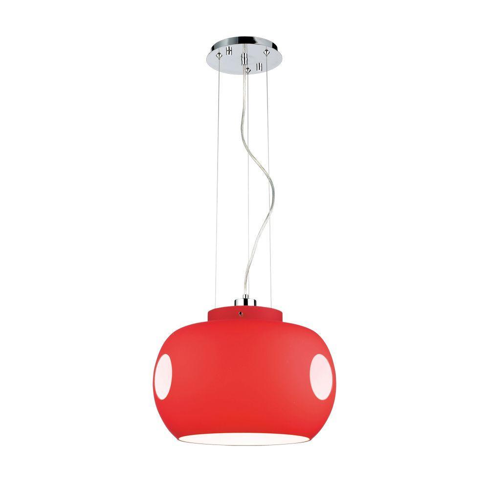 Kylin 1-Light Chrome/Red Hanging Pendant