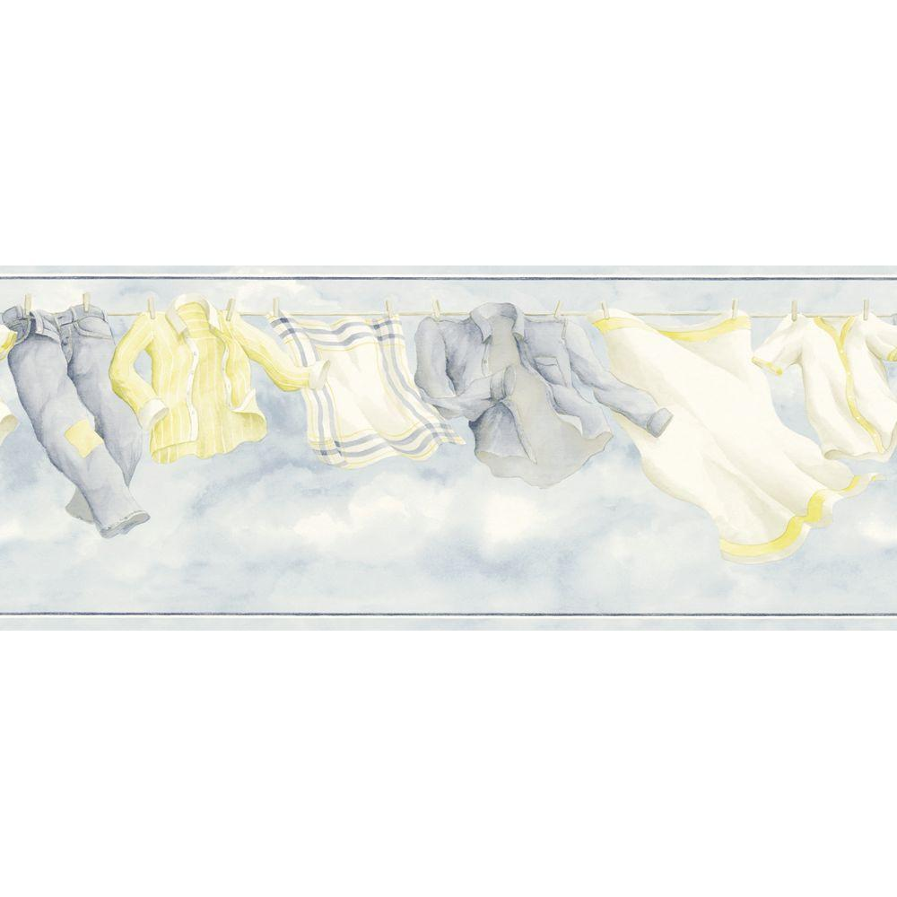 The Wallpaper Company 8.5 in. x 15 ft. Blue Laundry Breeze Border-DISCONTINUED
