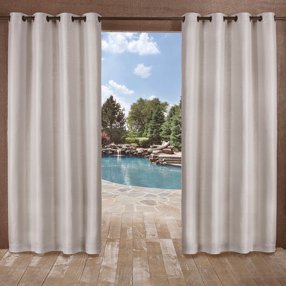 Delano 54 in. W x 96 in. L Indoor Outdoor Grommet Top Curtain Panel in Silver (2 Panels)