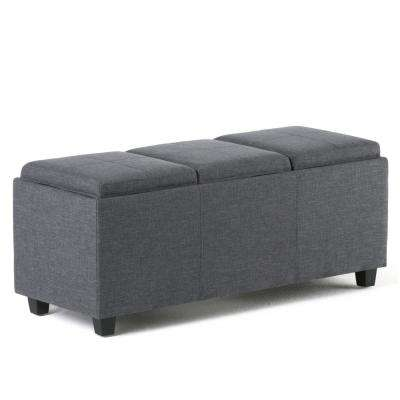 Avalon 42 in. Contemporary Storage Ottoman in Slate Grey Linen Look Fabric
