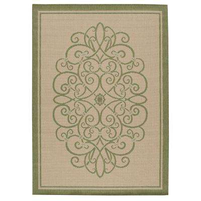 Border Iron Gate Cream/Green 8 ft. x 11 ft. Indoor/Outdoor Area Rug