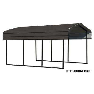 10 ft. W x 24 ft. D Black/Charcoal Galvanized Steel Carport
