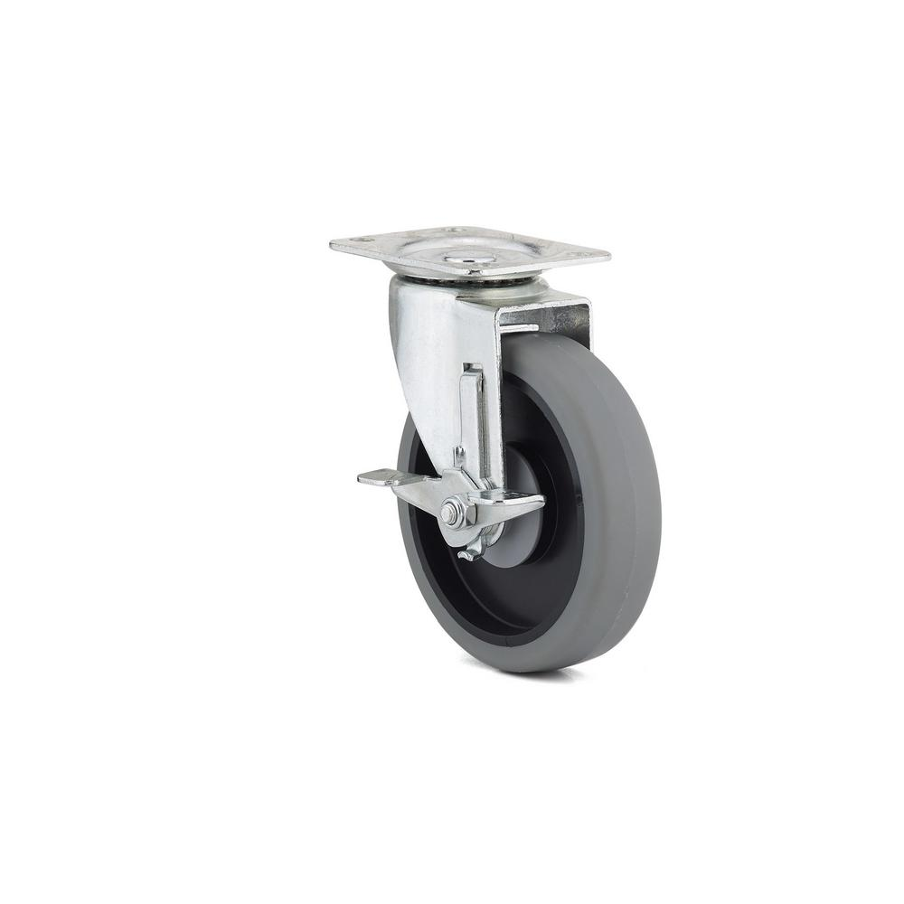 5 in. Gray Swivel with Brake plate Caster, 297.7 lb. Load
