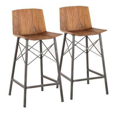 Java 26 in. Industrial Antique Metal and Teak Wood Counter Stool (Set of 2)