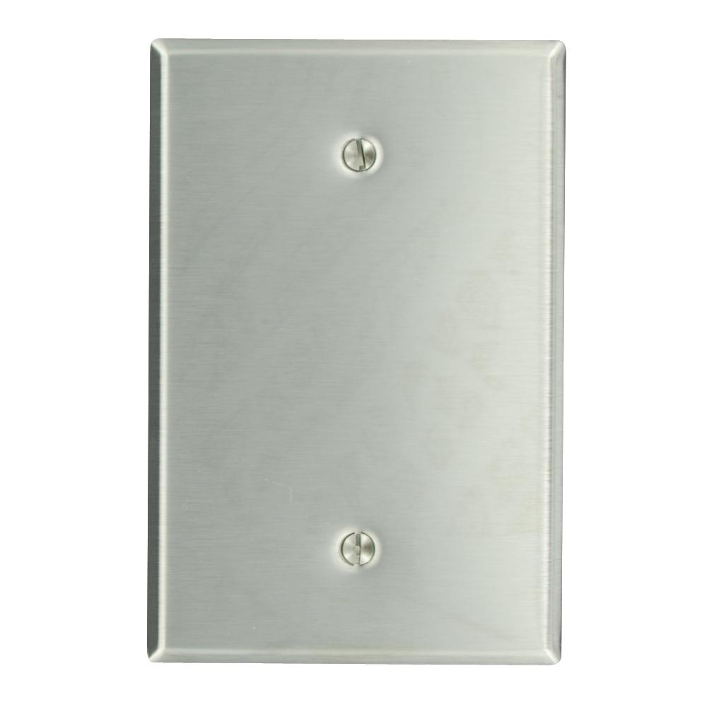 1-Gang No Device Blank Wallplate, Oversized, 430 Stainless Steel, Box Mount,
