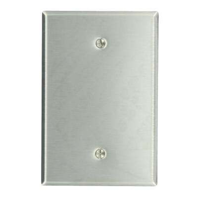 1-Gang No Device Blank Wallplate, Oversized, 430 Stainless Steel, Box Mount, Stainless Steel