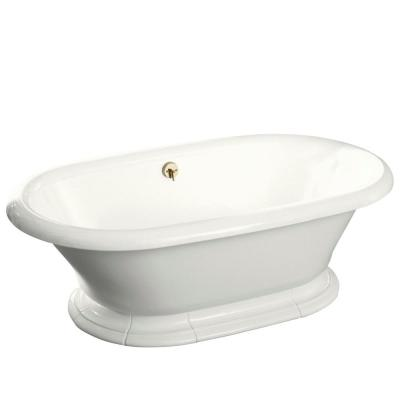 Vintage 6 ft. Porcelain-Enameled Flat Bottom Reversible Drain Bathtub in Biscuit
