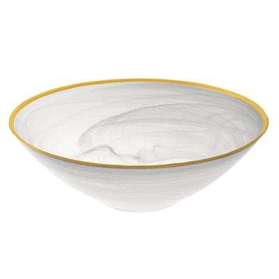 12 in. Dia Alabaster Bowl in White and Gold