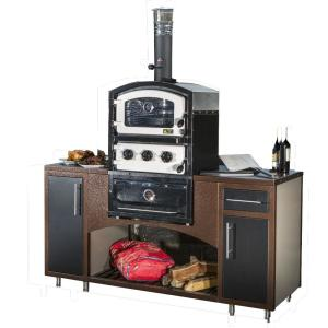 Fornetto Alto Series Built-In Wood Fired Oven Grill and Smoker in Black by Fornetto