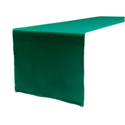 14 in. x 108 in. Teal Polyester Poplin Table Runner