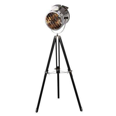 Ansel Tripod 67 in. Chrome and Black Floor Lamp