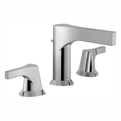 Zura 8 in. Widespread 2-Handle Bathroom Faucet with Metal Drain Assembly in Chrome