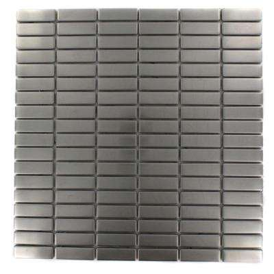 Stainless Steel Stacked Pattern 12 in. x 12 in. x 8 mm Metal Mosaic Floor and Wall Tile