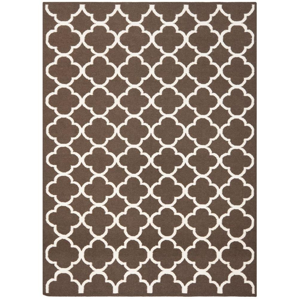 Dhurries Brown/Ivory 5 ft. x 8 ft. Area Rug