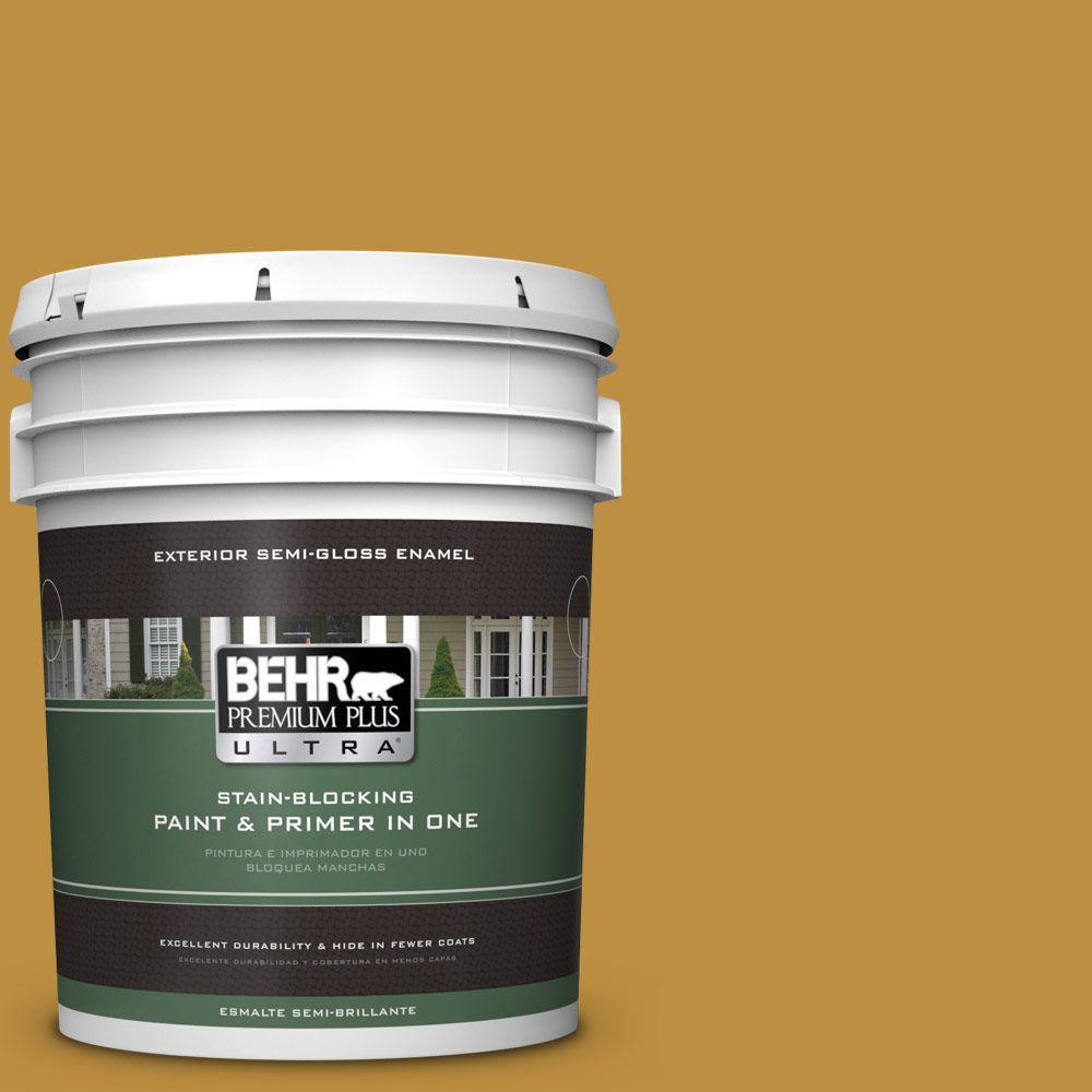 BEHR Premium Plus Ultra 5-gal. #340D-6 Fervent Brass Semi-Gloss Enamel Exterior Paint