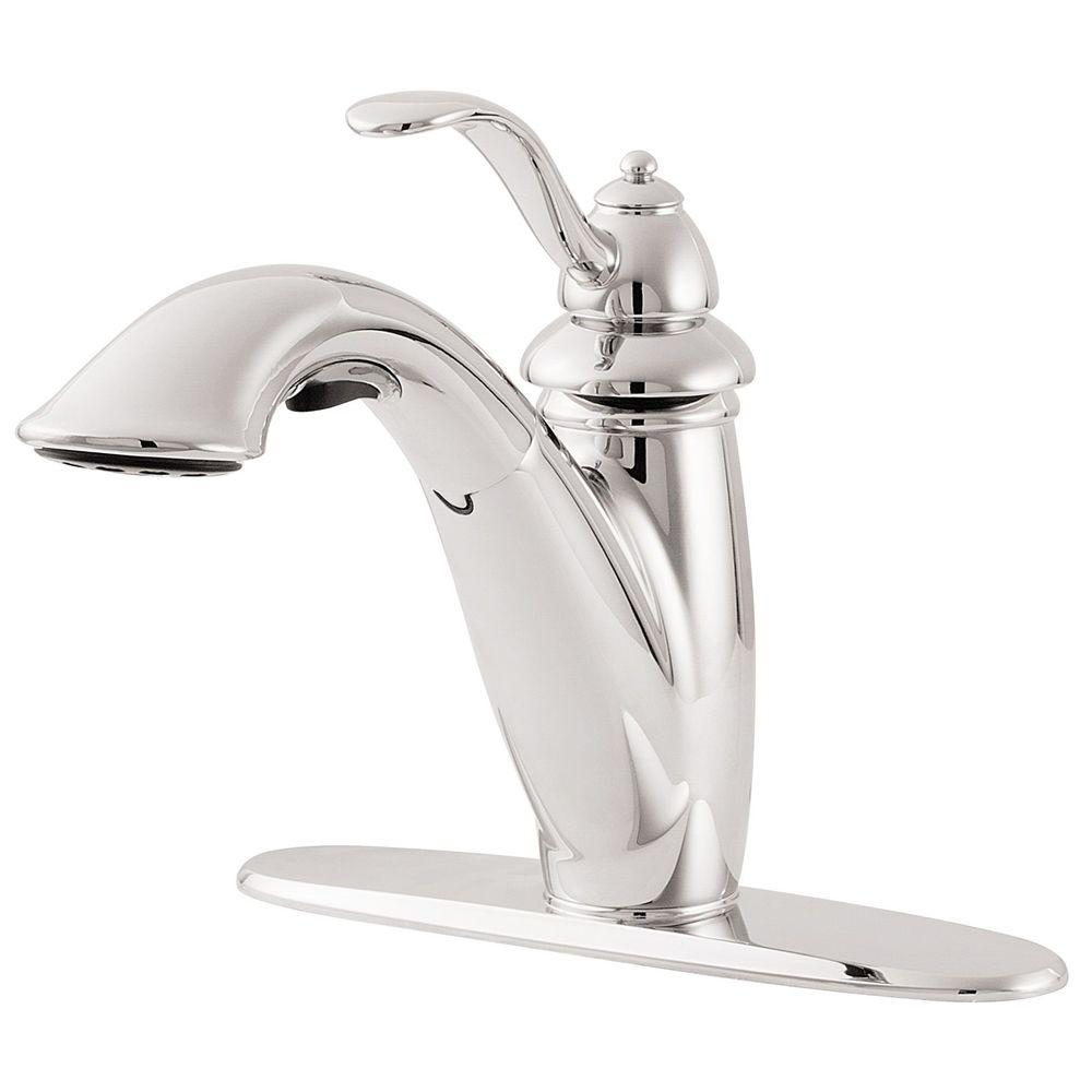 Pfister Marielle Single Handle Pull Out Sprayer Kitchen Faucet In Polished Chrome Lg532 7cc The Home Depot
