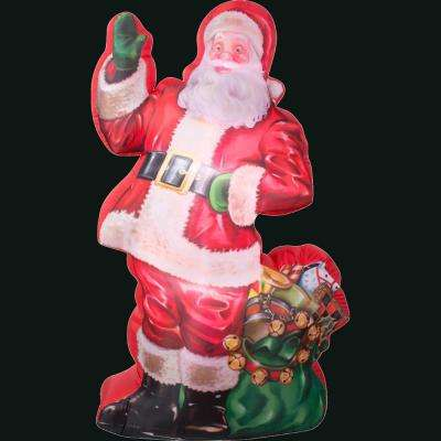 46.46 in. L x 29.53 in. W x 83.86 in. H Inflatable Photorealistic Illustrated Santa with Gift Bag