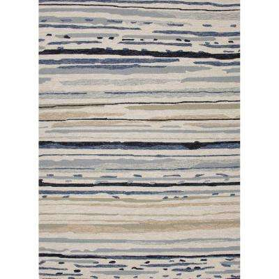 Sketchy Lines Silver Green 8 ft. x 10 ft. Abstract Area Rug