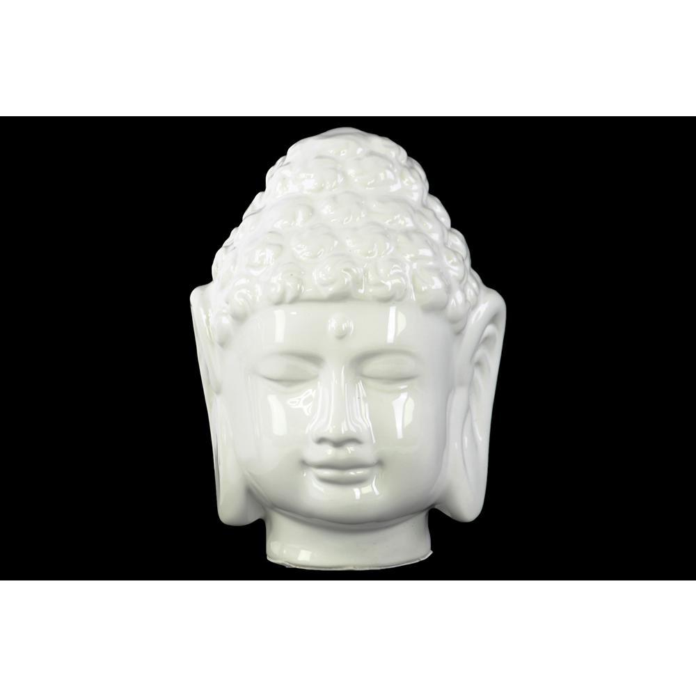 7.5 in. H Buddha Decorative Sculpture in White Gloss Finish
