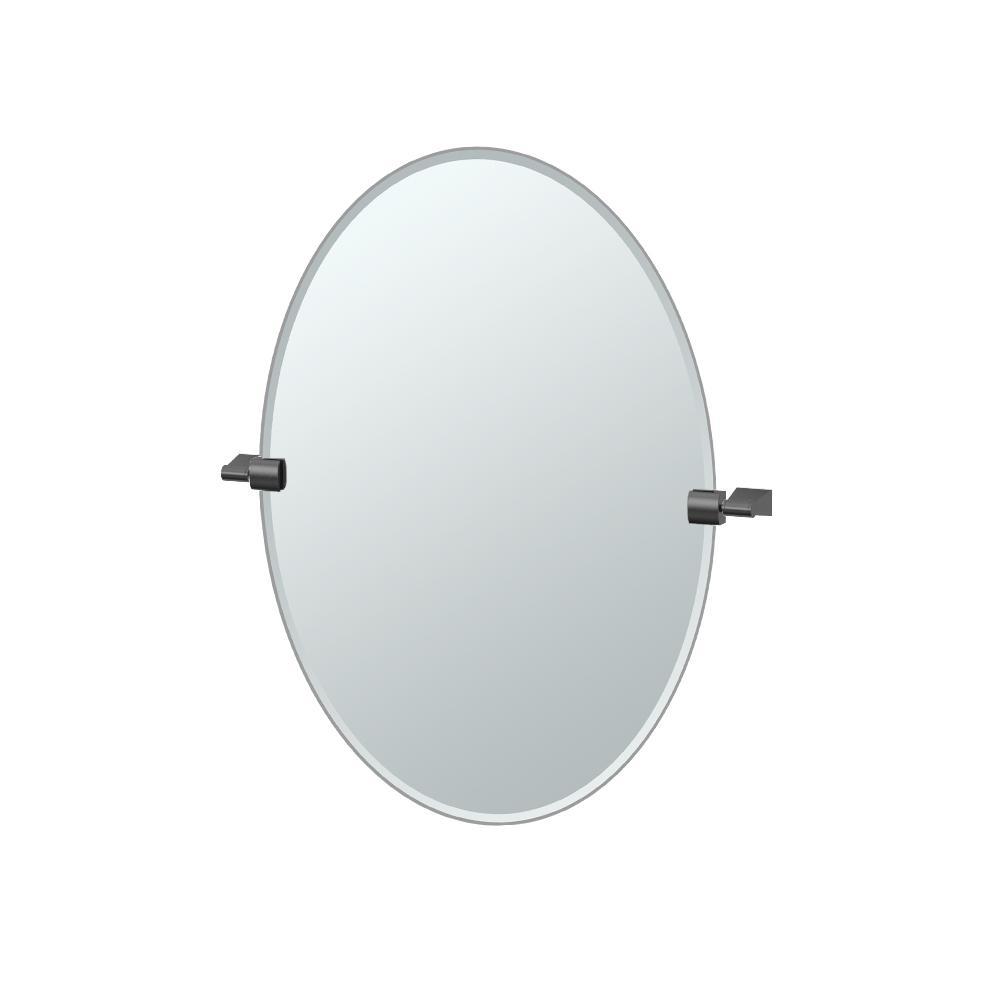 Bleu 24 in. x 27 in. Frameless Single Oval Mirror in