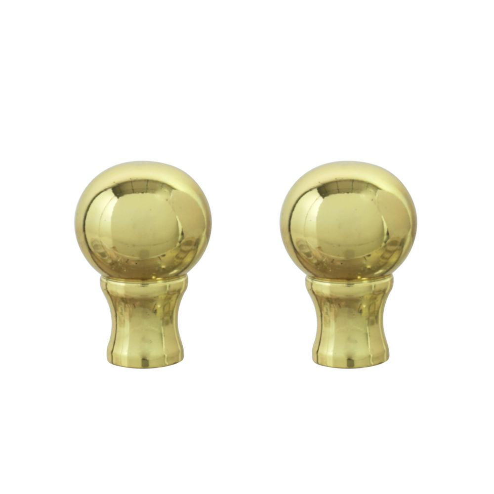 2 Pack Green 24023-12 2 Tall Aspen Creative Faux Marble Ball Finial with Brass Plated Finish