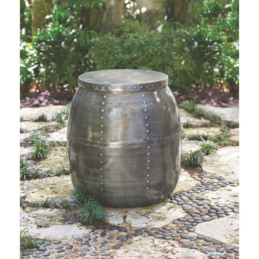 19 in. Round Rivet Garden Patio Bar Stool with Hidden Storage in Zinc Finish
