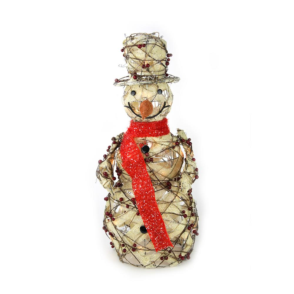 27.5 in. Christmas Lighted Burlap and Berry Rattan Standing Snowman Outdoor