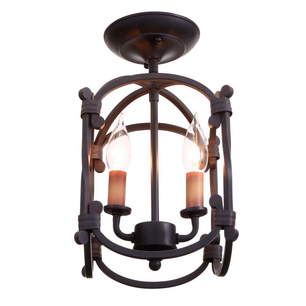 Hastings Collection 2-Light Rust Semi-Flush Mount Lantern
