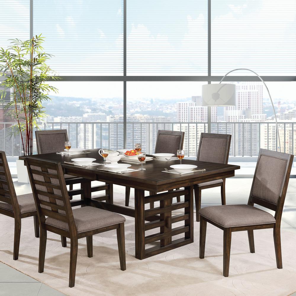 Furniture of America Juana Walnut Fabric Trellis Side Chair (Set of 2)