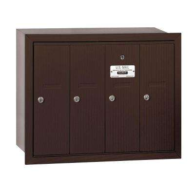 3500 Series Bronze Recessed-Mounted Private Vertical Mailbox with 4 Doors
