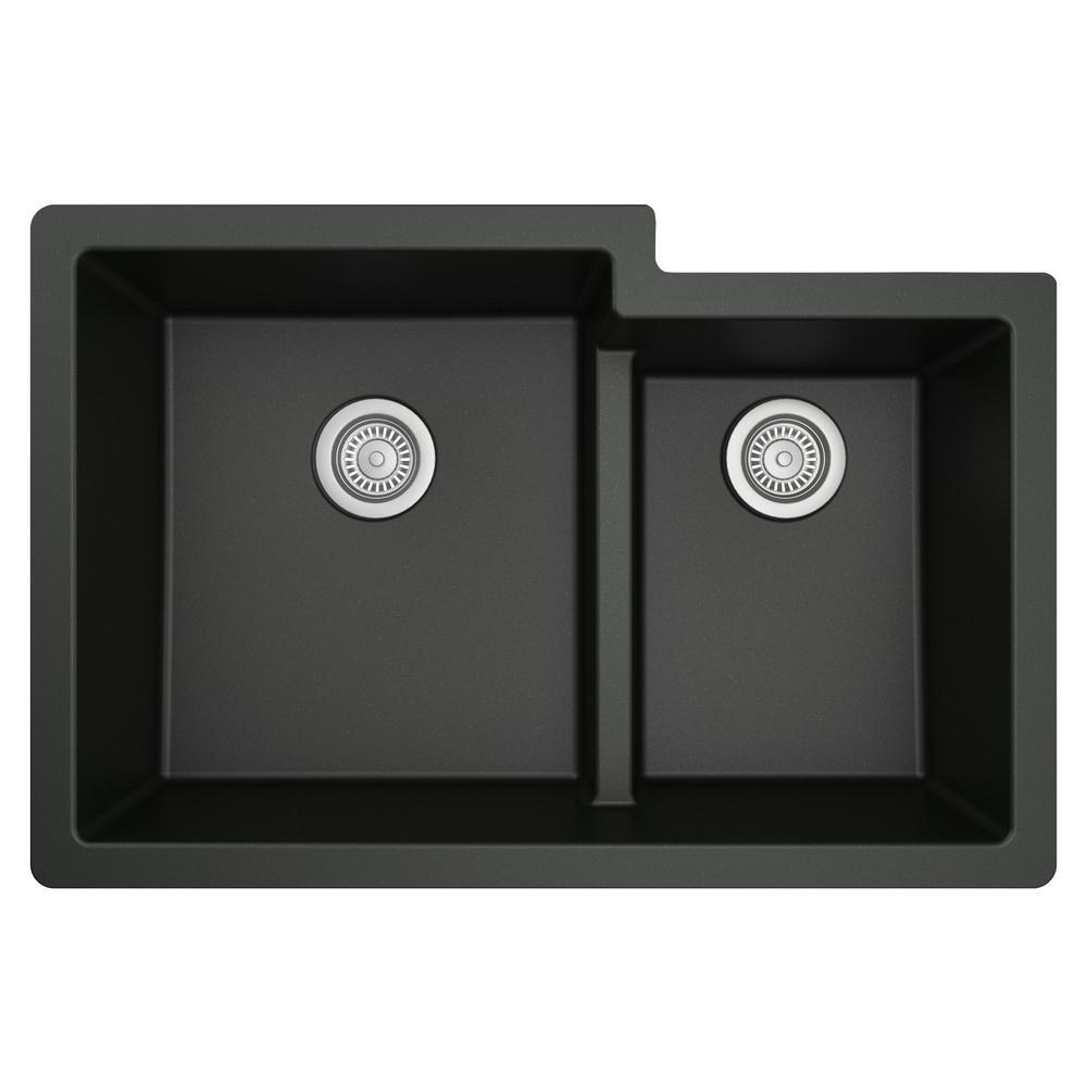 Quartz Black 33 in. 60/40  Double Bowl Composite Undermount Kitchen Sink