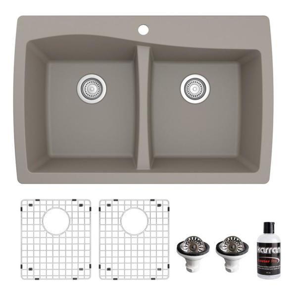 QT-720 Top Mount Quartz Composite 33 in. Double Bowl Drop-In 50/50 Kitchen Sink with Grids & Basket Strainer in Concrete