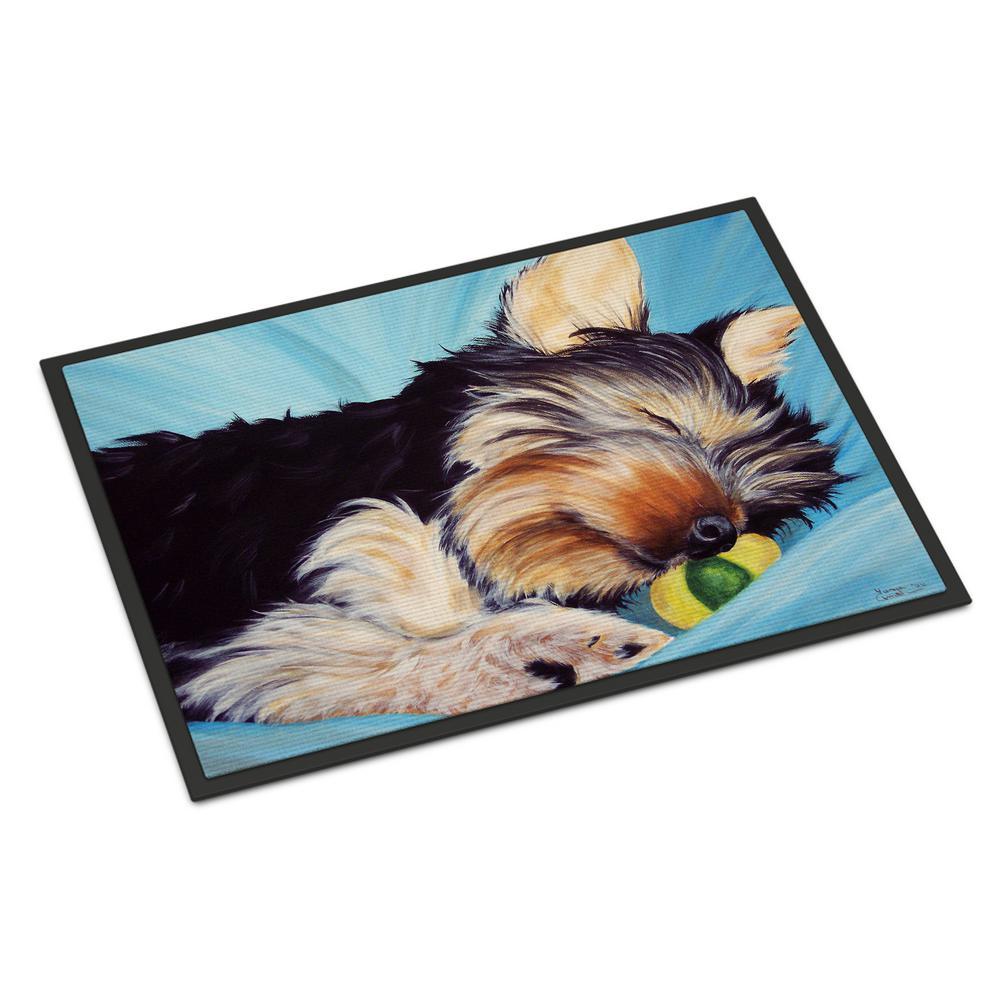 Multicolor 18 x 27 Carolines Treasures Westie with Mom and a View Indoor Outdoor Doormat