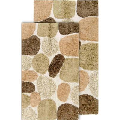 Pebbles 2-Piece Khaki Bath Rug Set (21 in. x 34 in. and 24 in. x 40 in.)