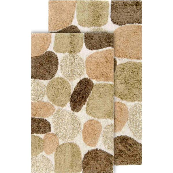 Chesapeake Merchandising Pebbles 2 Piece Khaki Bath Rug Set 21 In X 34 In And 24 In X 40 In 26650 The Home Depot