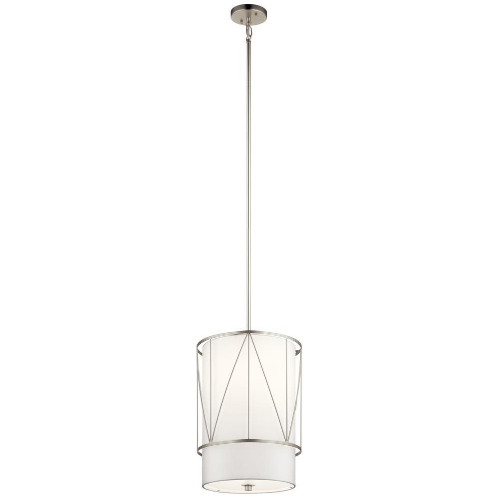 Birkleigh 1-Light Satin Nickel Pendant Light with Satin Etched Glass