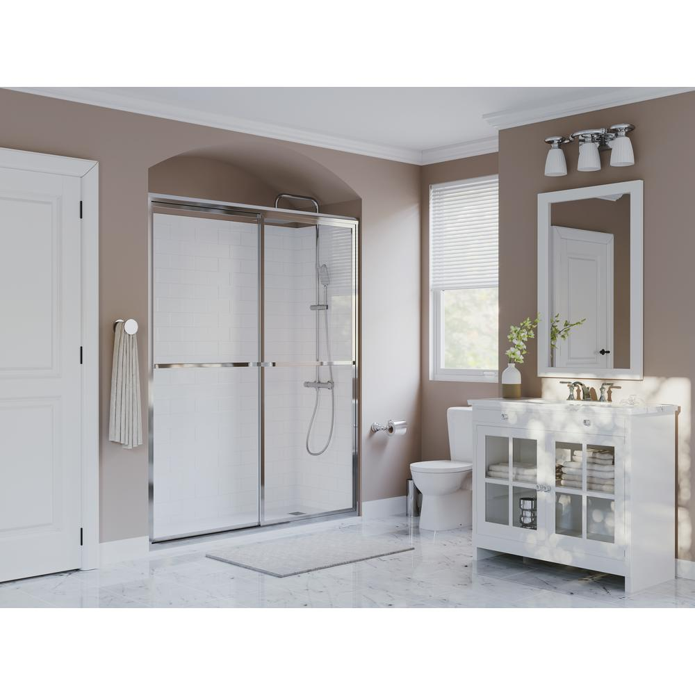 Coastal Shower Doors Paragon 42 in. to 43.5 in. x 66 in. Framed Sliding Shower Door with Towel Bar in Chrome and Clear Glass