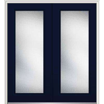 72 in. x 80 in. Micro Granite Right-Hand Inswing Full Lite Decorative Painted Fiberglass Smooth Prehung Front Door