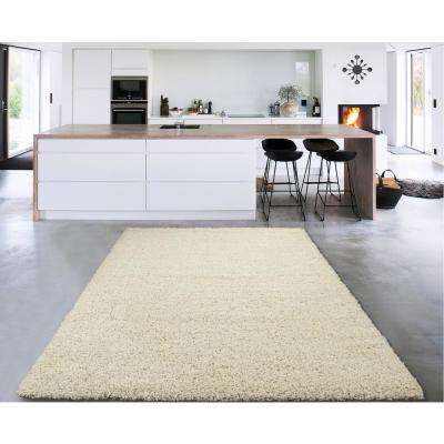 Cozy Shag Collection Cream 7 ft. x 9 ft. Indoor Area Rug